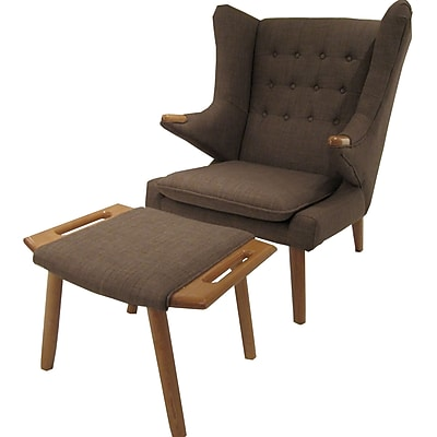 Corrigan Studio Styron Wingback Chair and Ottoman; Brown