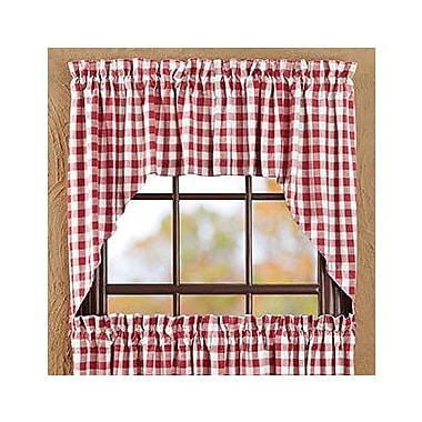 August Grove Alette Swag 36'' Curtain Valance (Set of 2); Red