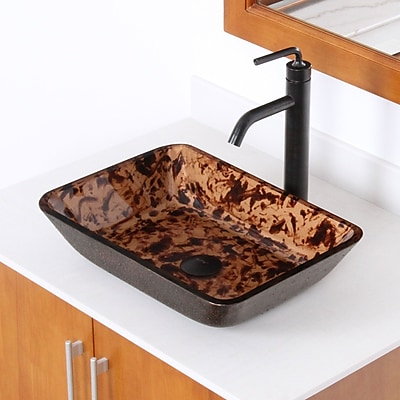 Elite Abstract Tortoiseshell Hand Painted Flat Bottom Rectangular Vessel Bathroom Sink