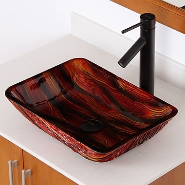 Elite Hot Melted Contrasting Hand Painted Rectangular Vessel Bathroom Sink; Oil Rubbed Bronze