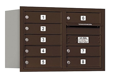 Salsbury Industries 8 Door Front Load 4C Horizontal Mail Center; Bronze