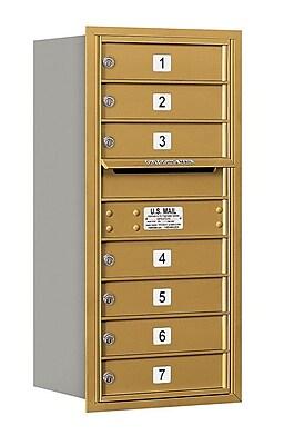 Salsbury Industries 7 Door Front Load 4C Horizontal Mail Center; Gold