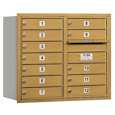 Salsbury Industries 12 Door Front Load 4C Horizontal Mail Center; Gold