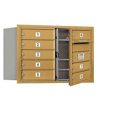 Salsbury Industries 8 Door Front Load 4C Horizontal Mail Center; Gold