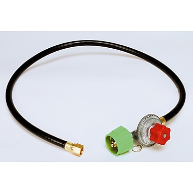Clam Shell Packed High Pressure Adjustable Regulator and Listed LP Hose w/ Female Flare Swivel