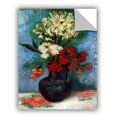 ArtWall Vase w/ Carnations and Other Flowers by Vincent Van Gogh Art Appeelz Removable Wall Mural