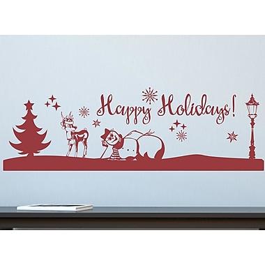 Enchantingly Elegant Happy Holidays Snowman Vinyl Wall Decal