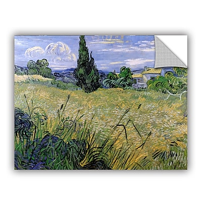 ArtWall Green Wheat Field w/ Cypress by Vincent Van Gogh Art Appeelz Removable Wall Mural