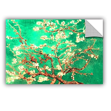 Almond Blossom-Interpretation In Emerald Green by Vincent Van Gogh Art Appeelz Removable Wall Mural
