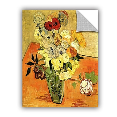 ArtWall Japanese Vase w/ Roses and Anemones by Vincent Van Gogh Art Appeelz Removable Wall Mural