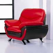 Hokku Designs Jonus Leather Chair; Red and Black