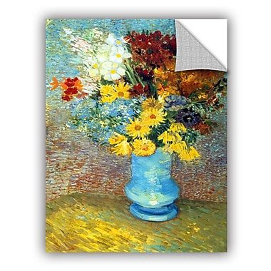 ArtWall Flowers In Blue Vase by Vincent Van Gogh Art Appeelz Removable Wall Mural