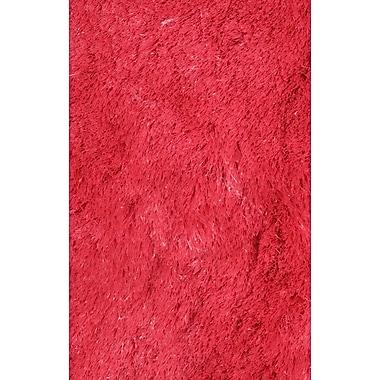 LA Rugs Silky Shag Red Indoor Area Rug; Rectangle 7'3'' x 10'