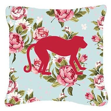 Caroline's Treasures Monkey Shabby Elegance Blue Roses Indoor/Outdoor Throw Pillow