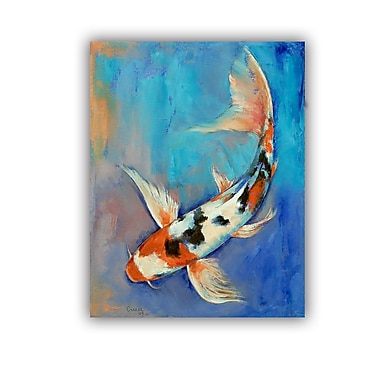ArtWall ArtApeelz Sanke Butterfly Koi by Michael Creese Painting Print on Canvas