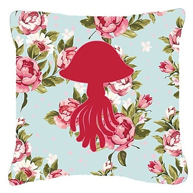 Caroline's Treasures Jellyfish Shabby Elegance Blue Roses Indoor/Outdoor Throw Pillow