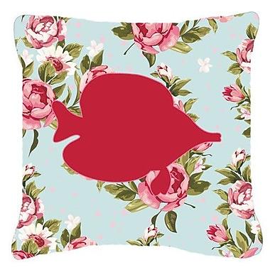 Caroline's Treasures Tang Fish Shabby Elegance Blue Roses Indoor/Outdoor Throw Pillow