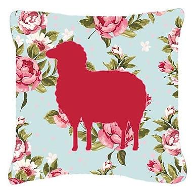 Caroline's Treasures Sheep Shabby Elegance Blue Roses Indoor/Outdoor Throw Pillow