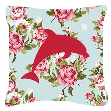 East Urban Home Dolphin Shabby Elegance Blue Roses Indoor/Outdoor Throw Pillow