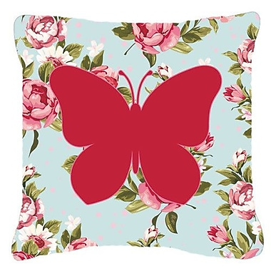 East Urban Home Butterfly Shabby Elegance Blue/Pink Roses Square Indoor/Outdoor Throw Pillow