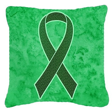 Caroline's Treasures Ribbon for Liver Cancer Awareness Indoor/Outdoor Throw Pillow