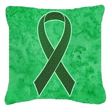 Caroline's Treasures Ribbon for Liver Cancer Awareness Indoor/Outdoor Throw Pillow