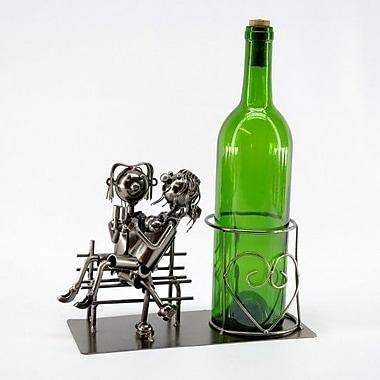 Three Star Lovers on Bench 1 Bottle Tabletop Wine Rack