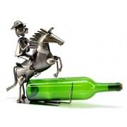 Three Star Cowboy on Horse 1 Bottle Tabletop Wine Rack