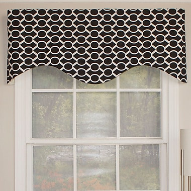 RLF Home Sydney Cornice 50'' Curtain Valance; Black