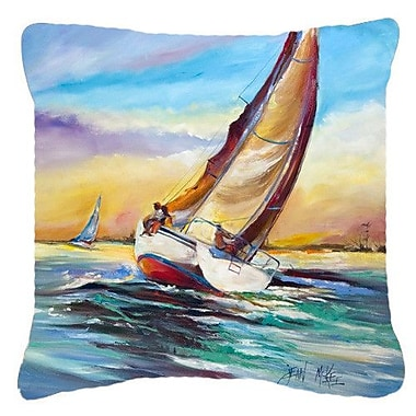 Caroline's Treasures Horn Island Boat Race Sailboats Indoor/Outdoor Throw Pillow