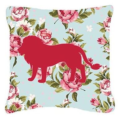 Caroline's Treasures Lion Shabby Elegance Blue Roses Indoor/Outdoor Throw Pillow