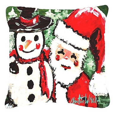 Caroline's Treasures Friends Snowman and Santa Claus Indoor/Outdoor Throw Pillow