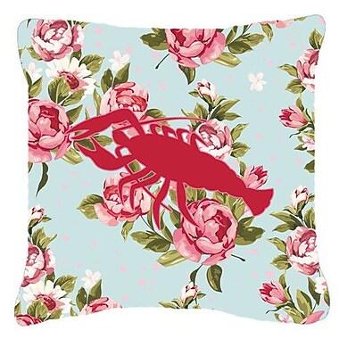 Caroline's Treasures Lobster Shabby Elegance Blue Roses Indoor/Outdoor Throw Pillow