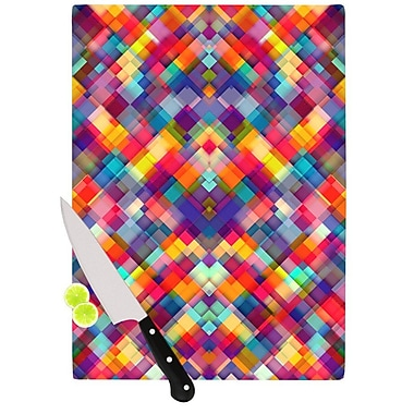 KESS InHouse Squares Everywhere by Danny Ivan Rainbow Shapes Cutting Board