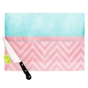 KESS InHouse Light Chevron Pink & Turquoise by Ingrid Beddoes Cutting Board