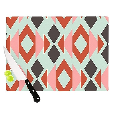 KESS InHouse Coral Mint Triangle Weave by Pellerina Design Cutting Board