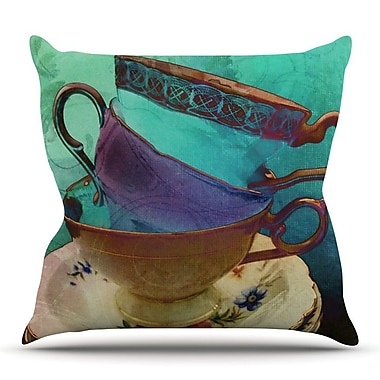 KESS InHouse Mad Hatters T-Party I by alyZen Moonshadow Turquoise Throw Pillow