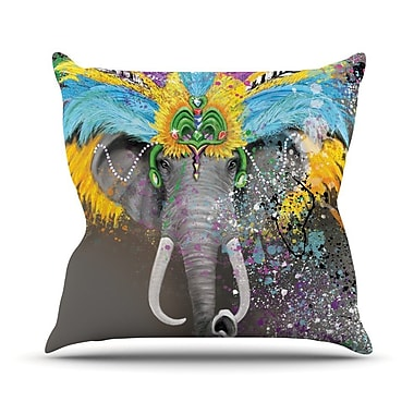 KESS InHouse My Elephant w/ Headdress by Geordanna Cordero-Fields Rainbow Throw Pillow