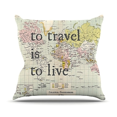 KESS InHouse To Travel Is To Live by Catherine Holcombe Color Map Throw Pillow