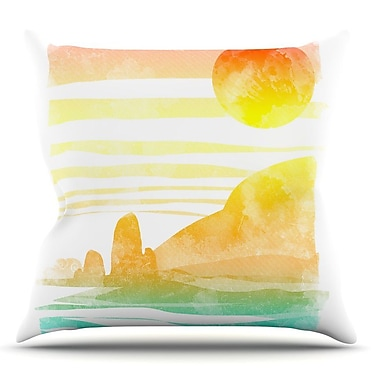 KESS InHouse Landscape Painted w/ Tea by Frederic Levy-Hadida Coastal Throw Pillow