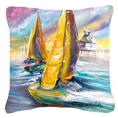 Caroline's Treasures Middle Bay Lighthouse Sailboats Indoor/Outdoor Throw Pillow