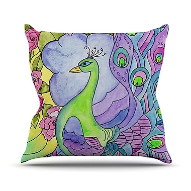 KESS InHouse Stained Glass Watercolor Peacock by Catherine Holcombe Throw Pillow