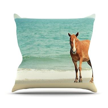 KESS InHouse Wild Mustang of Carova by Robin Dickinson Horse Ocean Throw Pillow