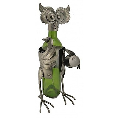 Three Star Owl w/ Barrel 1 Bottle Tabletop Wine Rack