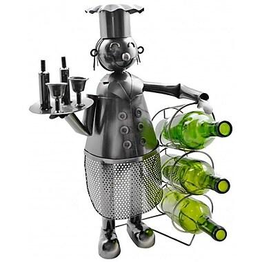 Wine Bodies Chef Holding 3 Bottles Tabletop Wine Rack