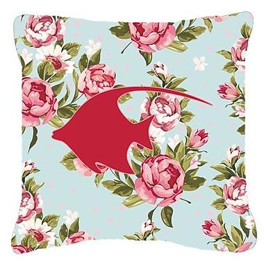 Caroline's Treasures Angel Fish Shabby Elegance Blue Roses Indoor/Outdoor Throw Pillow