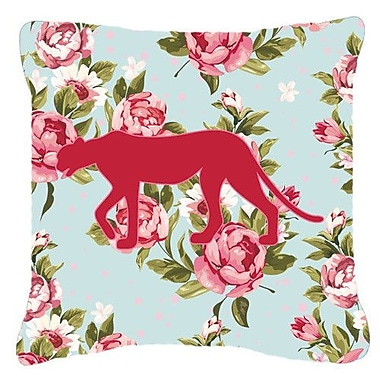 Caroline's Treasures Leopard Shabby Elegance Blue Roses Indoor/Outdoor Throw Pillow