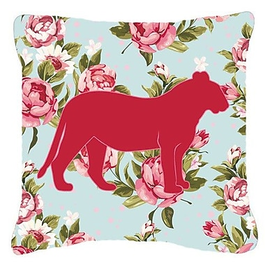 Caroline's Treasures Tiger Shabby Elegance Blue Roses Indoor/Outdoor Throw Pillow