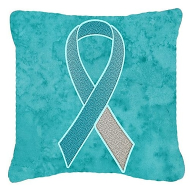 Caroline's Treasures Ribbon for Cervical Cancer Awareness Indoor/Outdoor Throw Pillow