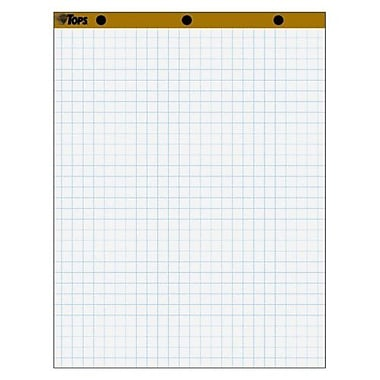 TOPS BUSINESS FORMS Easel Pad, 1'' Square Ruled, 50 Sheets, 27''x34'', 2 per Carton, White
